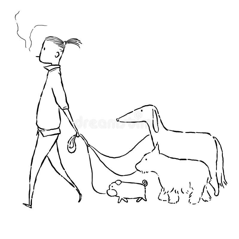 Paseo del hombre con los perros ilustración del vector