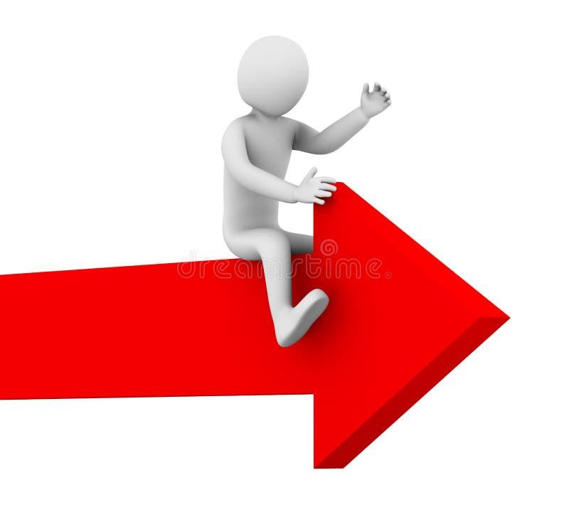 paseo del hombre 3d en flecha stock de ilustración
