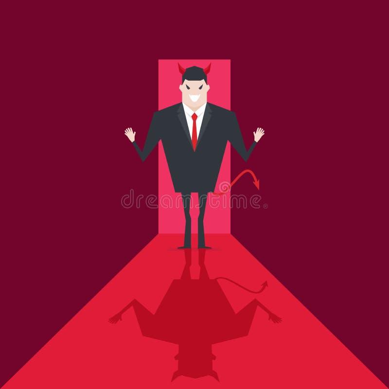 Paseo del hombre de negocios del diablo en la oficina Satanás es jefe del infierno Lucifer en negocio stock de ilustración