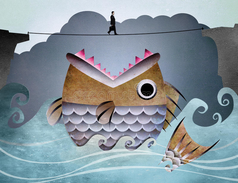 Paseo del hombre de negocios en cuerda stock de ilustración