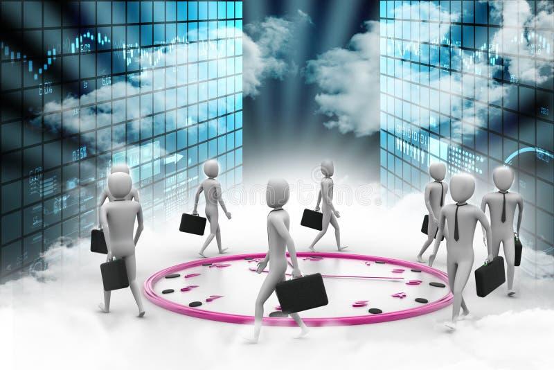 Paseo del hombre de negocios las veinticuatro horas del día stock de ilustración
