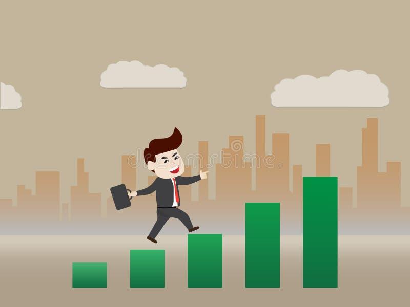 Paseo del hombre de negocios - negocio progresivo stock de ilustración