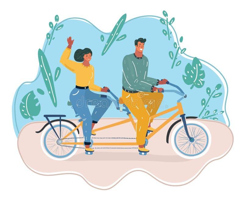 Paseo del hombre y de la mujer en la bicicleta libre illustration