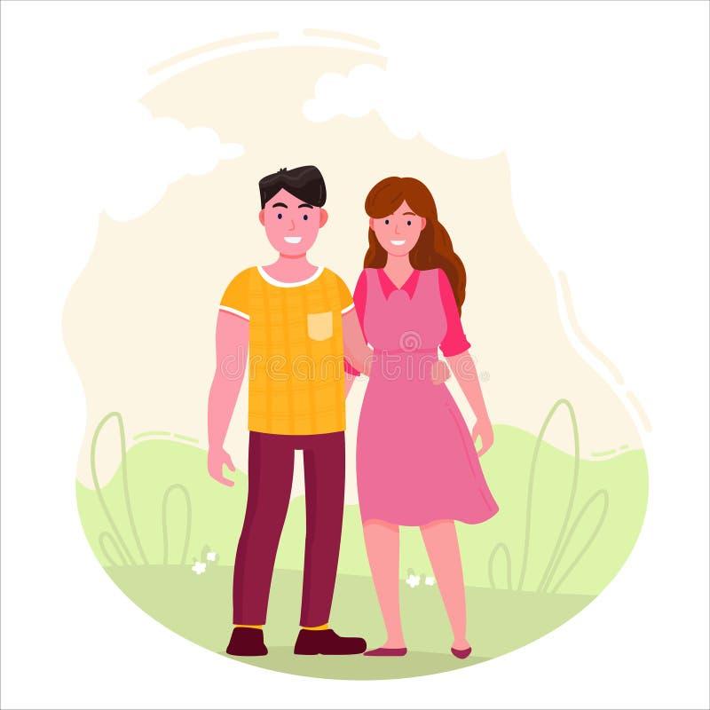 Paseo del hombre y de la mujer en el ejemplo del vector del parque ilustración del vector