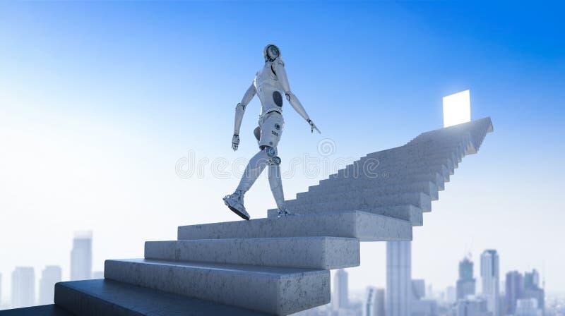 Paseo del robot a la blanco stock de ilustración