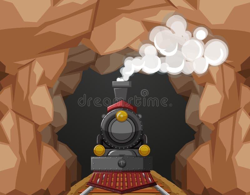 Paseo del tren a través de la cueva ilustración del vector