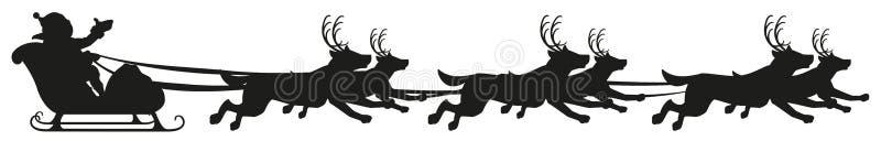 Paseo del trineo del perro del montar a caballo de Papá Noel Silueta negra de perros con los cuernos de ciervos ilustración del vector