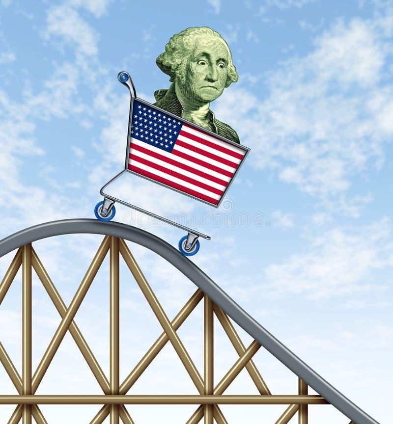 Paseo económico del roller coaster stock de ilustración