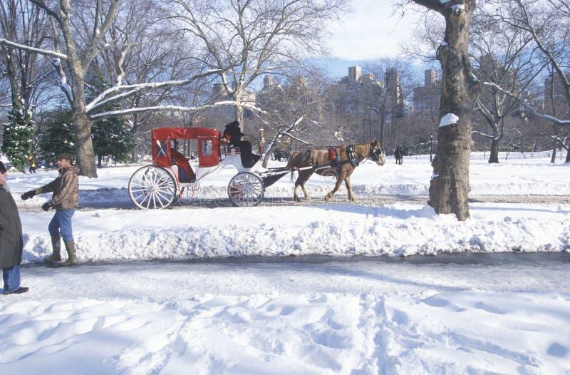 Paseo en Central Park, Manhattan, New York City, NY del carro del caballo después de la nevada del invierno fotografía de archivo