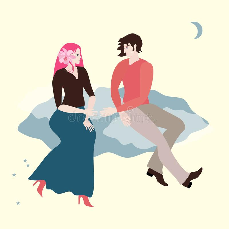 Paseo en el cielo Un par cariñoso joven es vuelo en una nube La magia del amor Tarjeta romántica en vector libre illustration