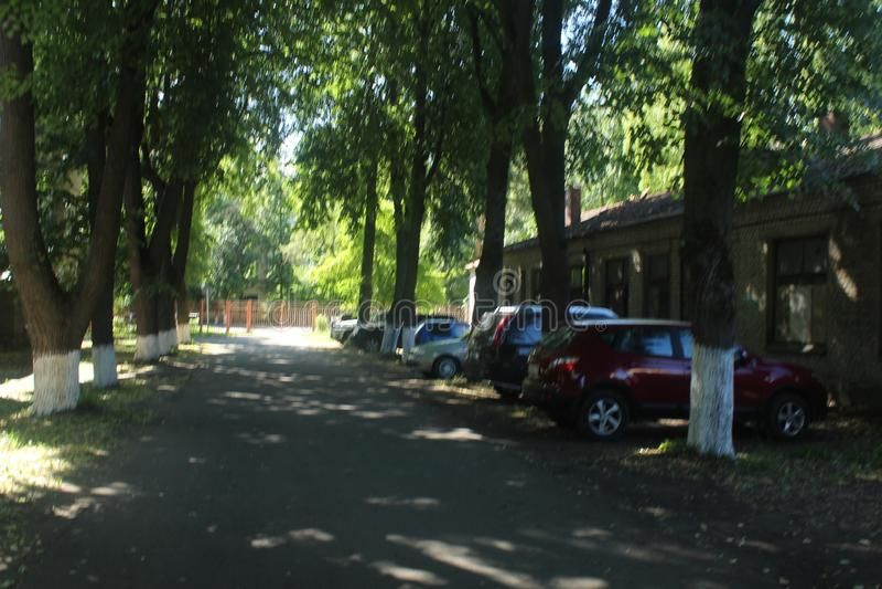 Paseo a Korolev Segundo aparcamiento del hospital fotos de archivo
