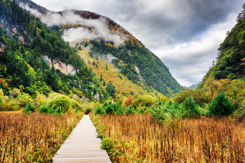 Paseo marítimo de madera que lleva a las montañas, parque nacional de Jiuzhaigou imágenes de archivo libres de regalías
