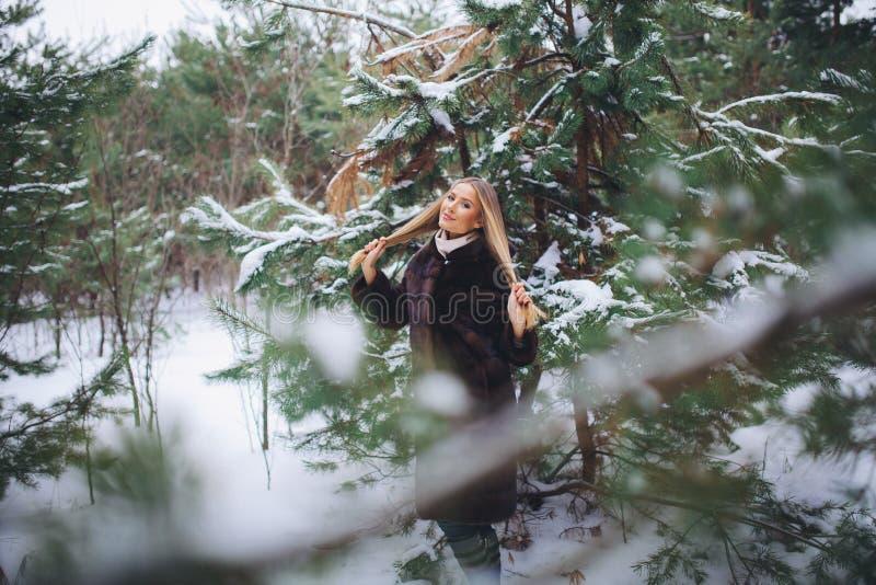Paseo modelo joven de la muchacha en el bosque del invierno imagen de archivo libre de regalías