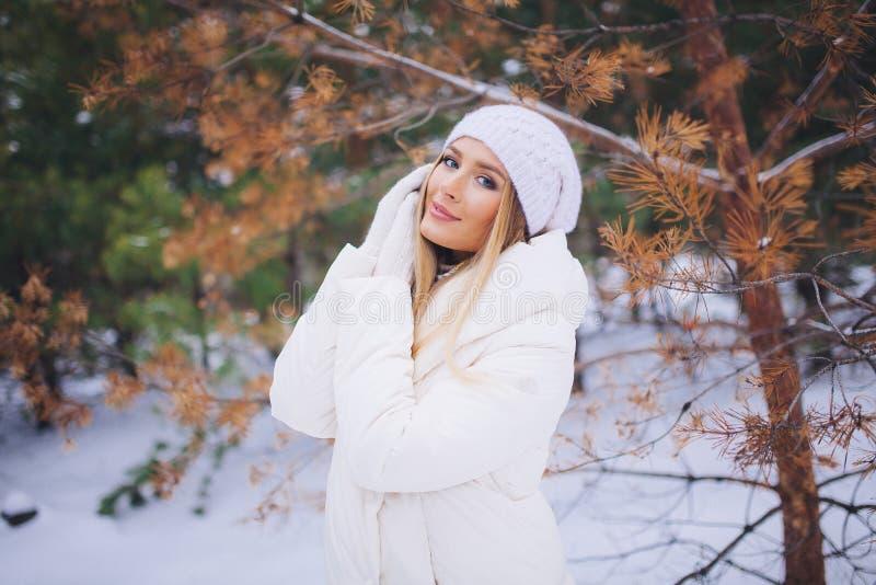 Paseo modelo joven de la muchacha en el bosque del invierno foto de archivo
