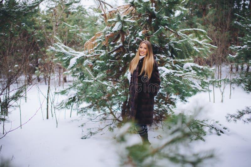 Paseo modelo joven de la muchacha en el bosque del invierno imagen de archivo