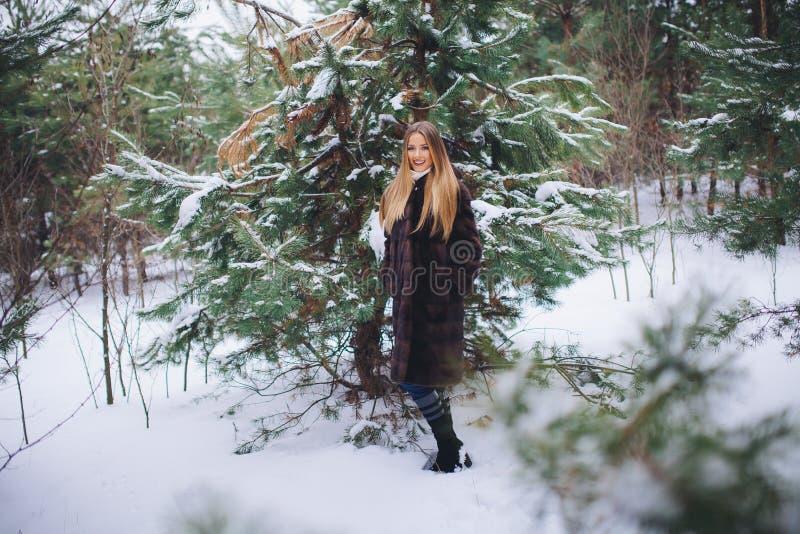 Paseo modelo joven de la muchacha en el bosque del invierno imagenes de archivo