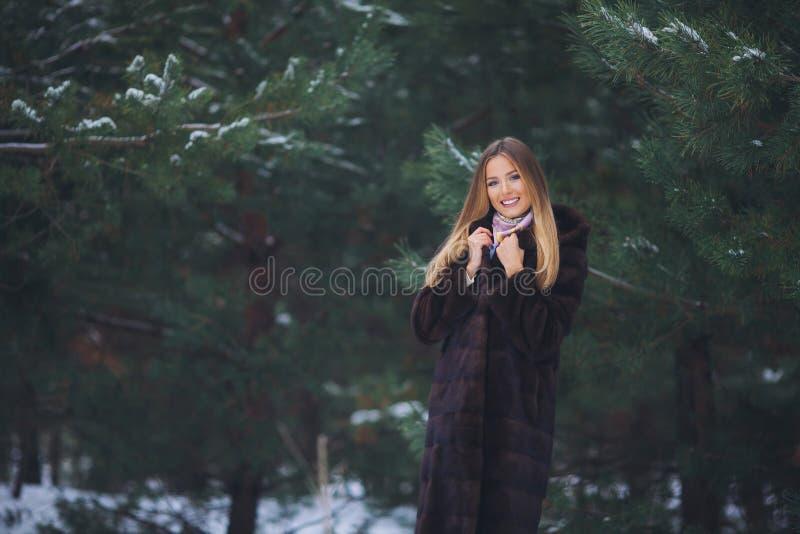 Paseo modelo joven de la muchacha en el bosque del invierno foto de archivo libre de regalías