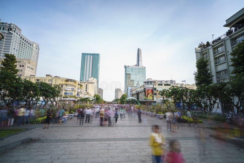Paseo Nguyen Hue Street, Ho Chi Minh City, Vietnam foto de archivo libre de regalías