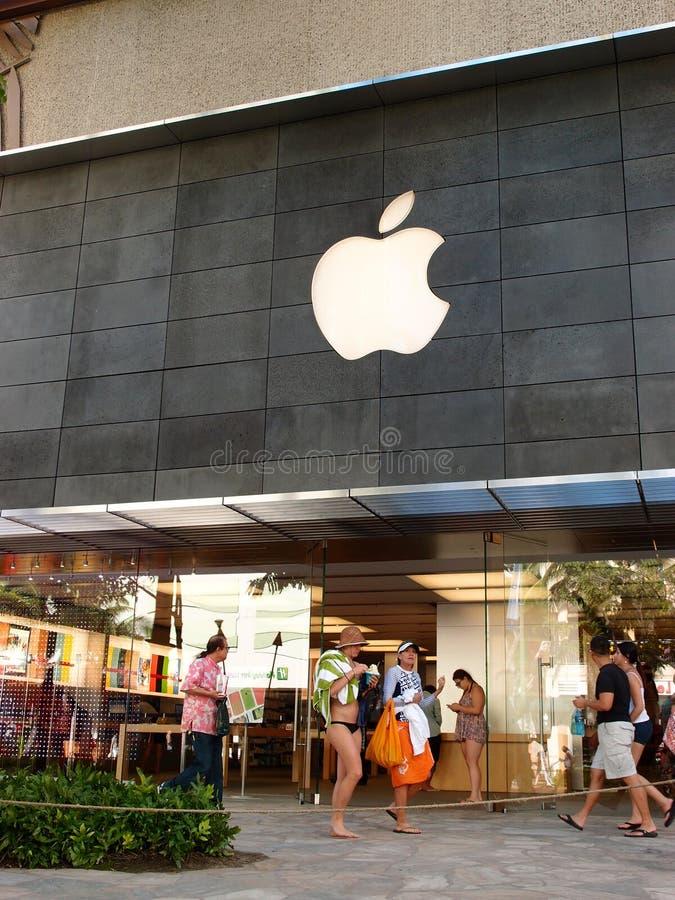 Paseo turístico de Waikiki Apple Store en el cente famoso de las compras fotografía de archivo libre de regalías