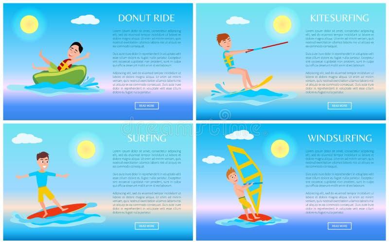 Paseo y deporte que practica surf, bandera activa del buñuelo del resto stock de ilustración