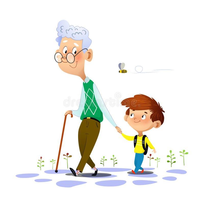 Paseos de abuelo con su nieto y el hablar con él ilustración del vector