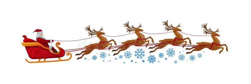 Paseos de Santa Claus en trineo con el reno La Navidad, Navidad, concepto del Año Nuevo ilustración del vector
