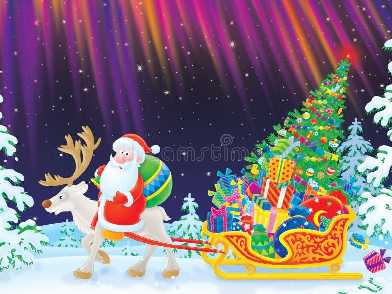 Paseos de Santa en el reno que arrastra el trineo stock de ilustración