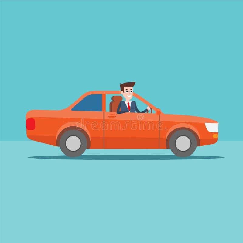 Paseos del carácter del administrador de oficinas en el coche libre illustration