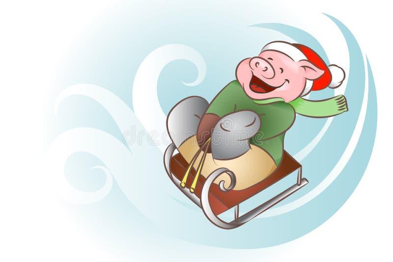 Paseos del cerdo de la Navidad en un trineo ilustración del vector