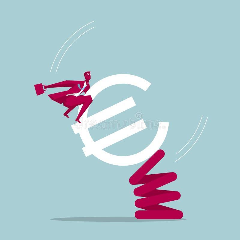 Paseos del hombre de negocios en el euro stock de ilustración