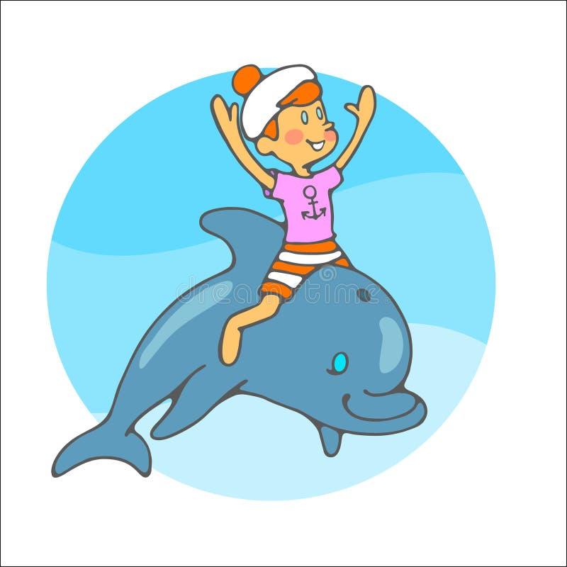 Paseos del muchacho de marinero en un delfín imagen de archivo