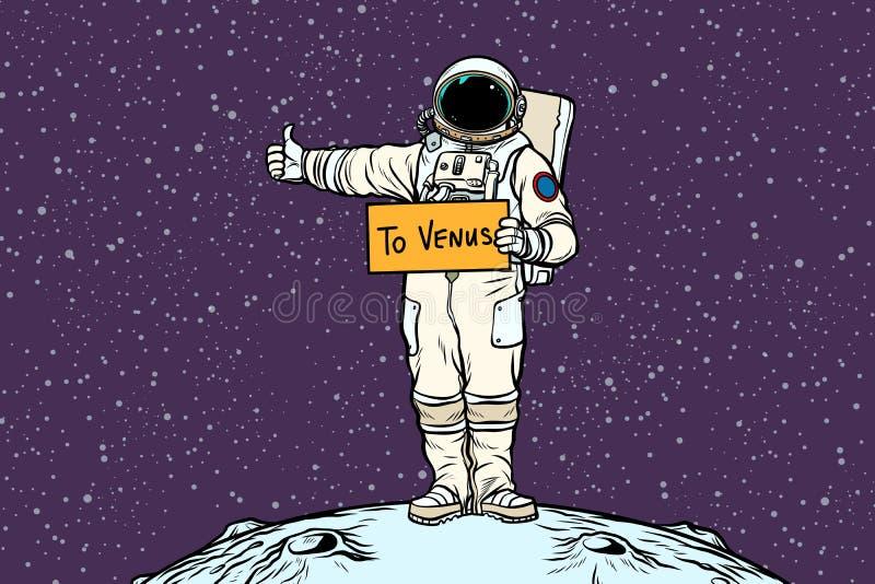 Paseos del tirón del astronauta en Venus ilustración del vector