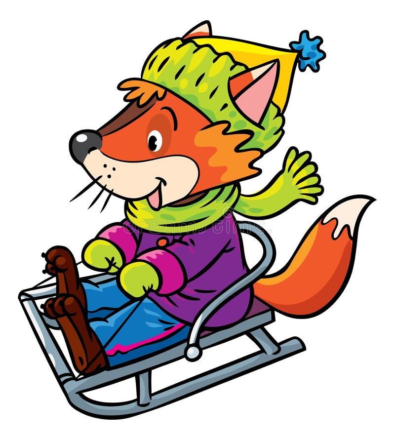 Paseos divertidos del zorro en trineo o el trineo libre illustration