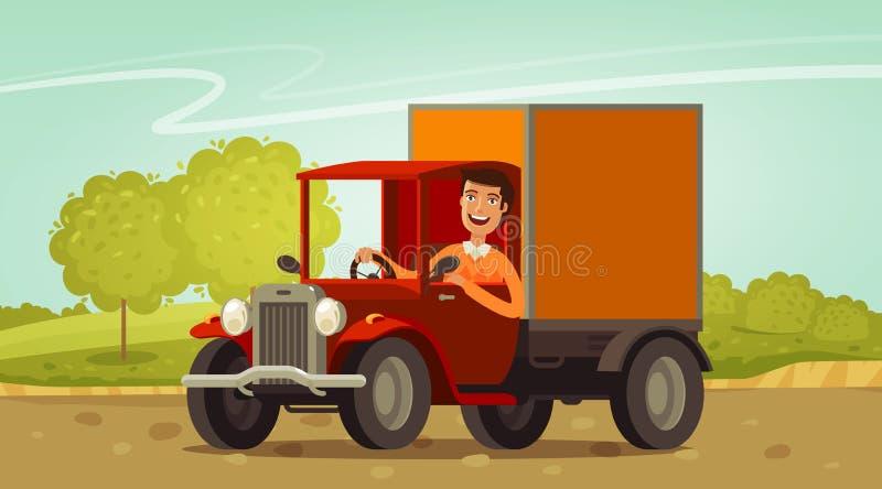 Paseos felices del conductor en el camión retro Entrega, cultivando concepto Ilustración del vector de la historieta libre illustration