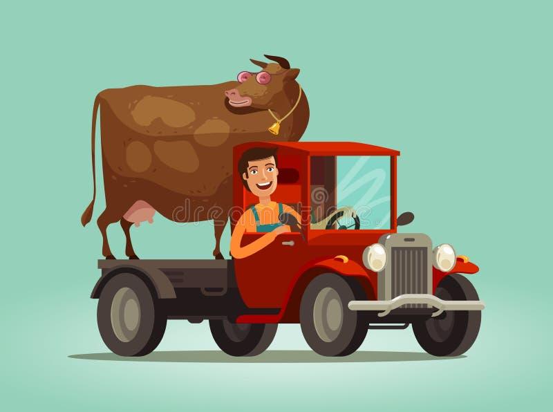 Paseos felices del granjero y de la vaca en el camión Cultivando, granja, concepto de la agricultura ilustración del vector
