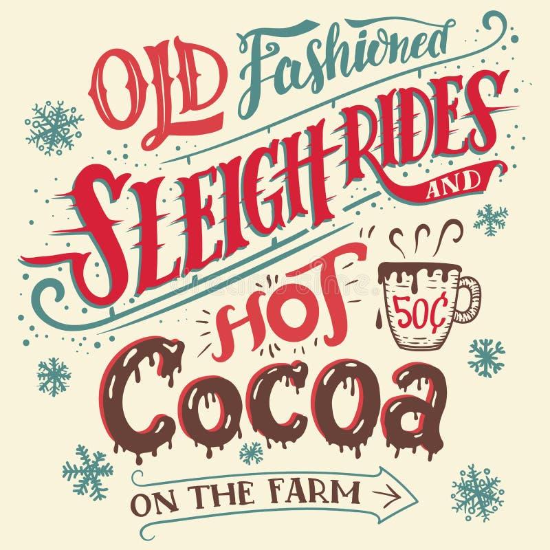 Paseos pasados de moda del trineo y tarjeta caliente del cacao libre illustration