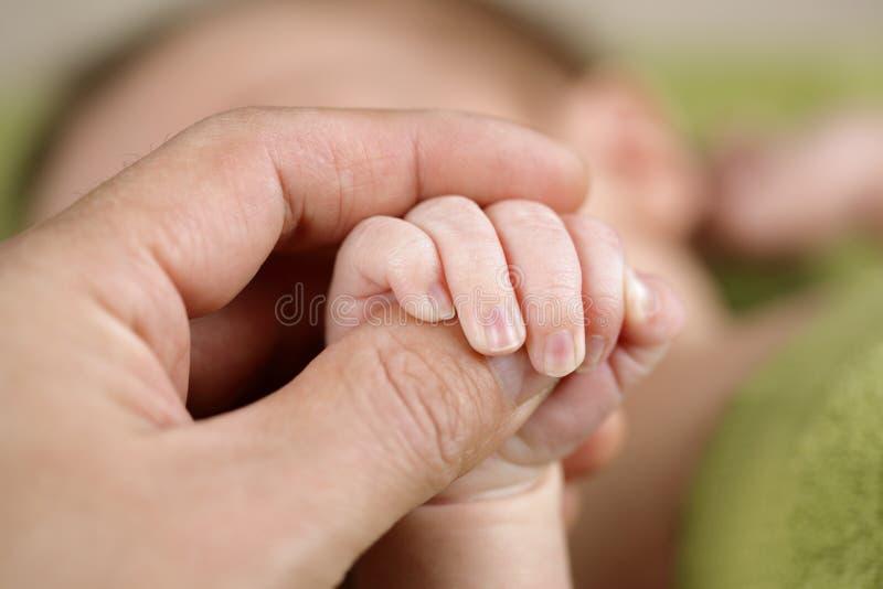 Pasgeboren baby die zijn oudershand houdt stock afbeelding