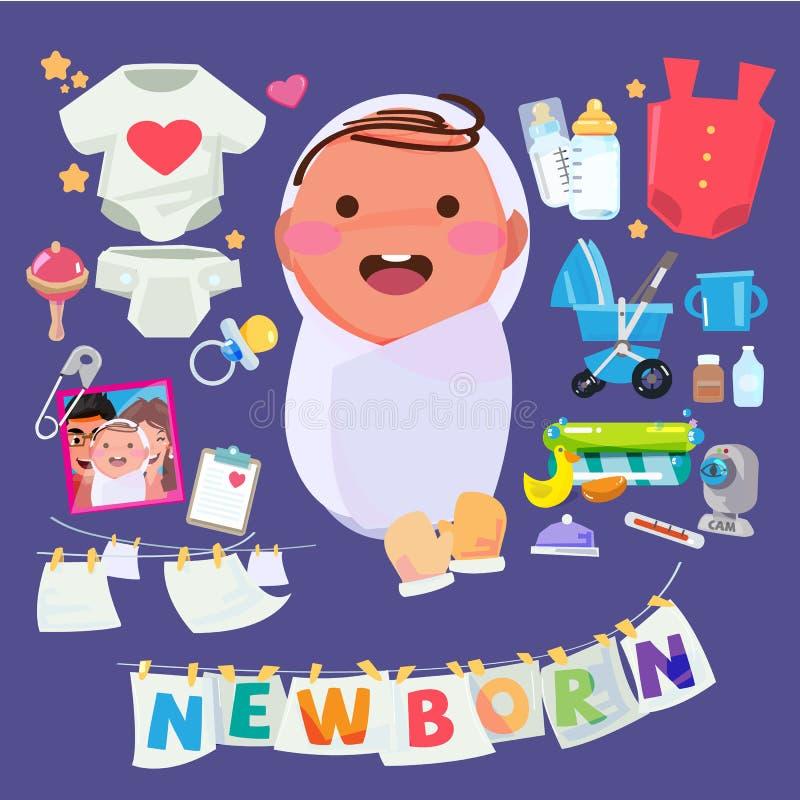 Pasgeboren babykarakter met reeks van de toebehoren van de jong geitjezorg Typograph stock illustratie