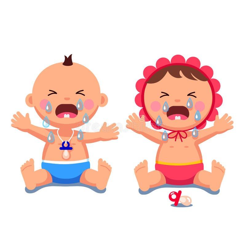 Pasgeboren babysmeisje, jongen die afwerpend grote scheuren schreeuwen vector illustratie