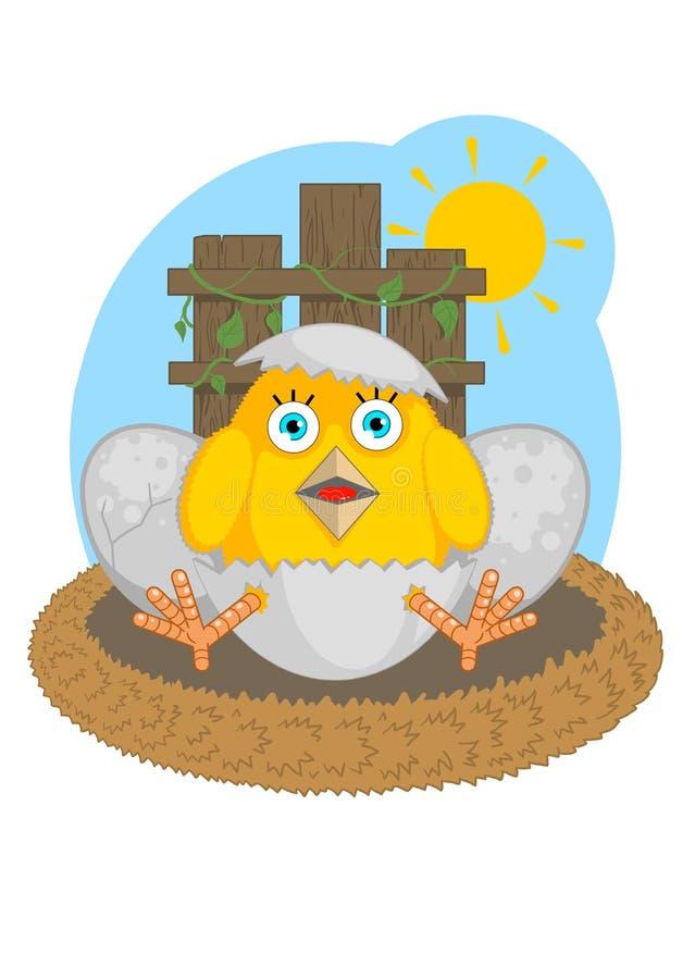 Pasgeboren kuiken vector illustratie