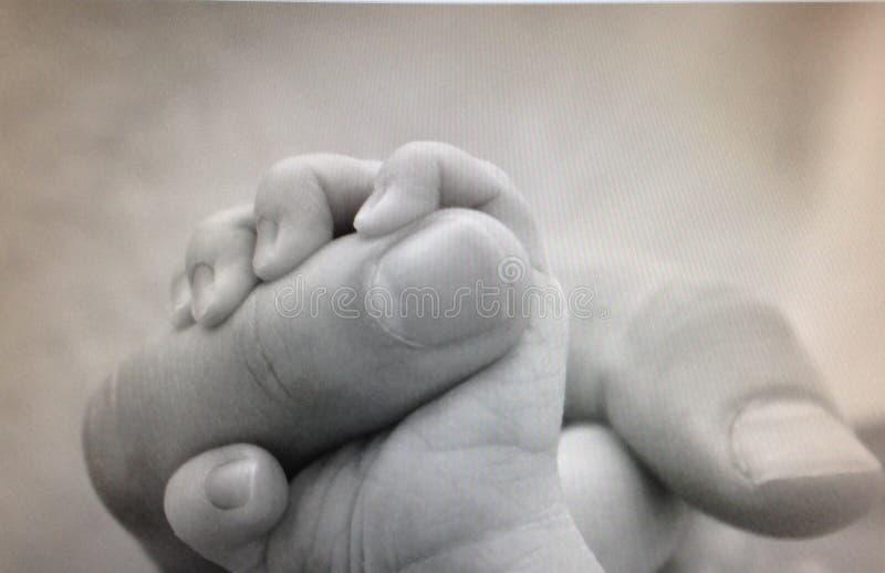 Pasgeboren - Papa en Baby stock fotografie