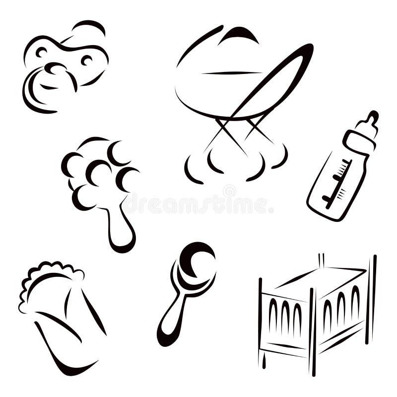 Download Pasgeboren symbolen vector illustratie. Illustratie bestaande uit diaper - 39102572