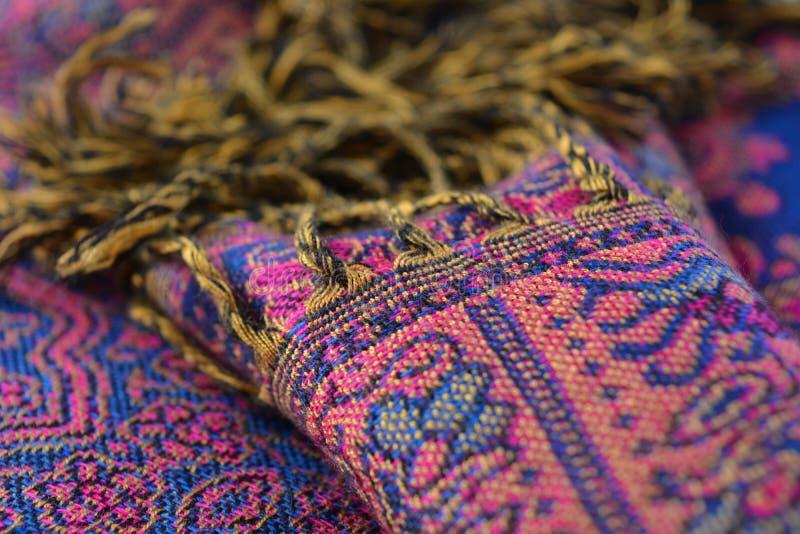 Pashmina wełny szalik, abstrakcjonistyczna tekstura wełna i jedwab nici, zdjęcie stock