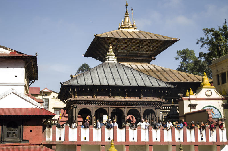 Pashupati Temple. A fine day in Pashupati Temple, one of the most important temples for believers in Hindu religion royalty free stock photos