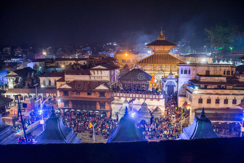 Pashupati Temple. At Mahashivaratri in Nepal. Pashupati is one of the most important religious places for Hindus stock photography