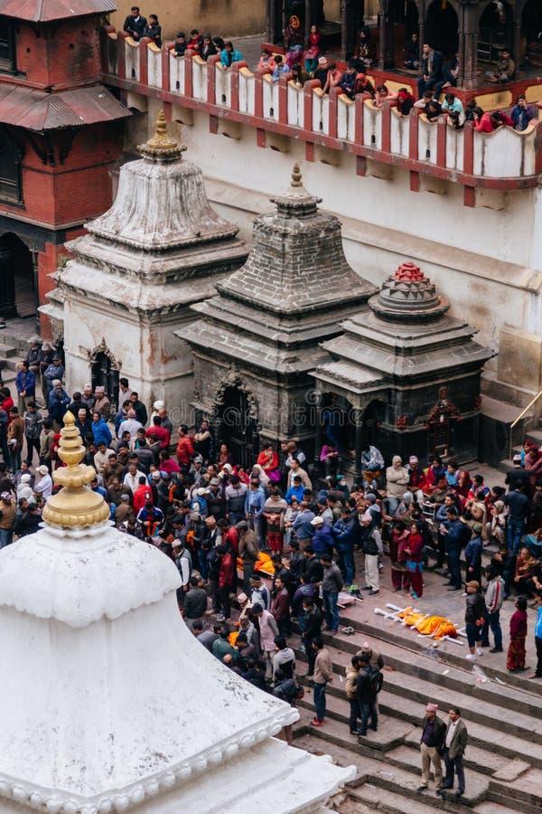 Pashupatinath葬礼 库存图片