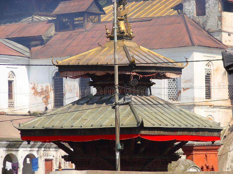 Pashupatinath complex, sacred Hindu temple in traditional Nepal style. royalty free stock photo