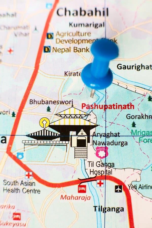 Pashupatinath. Hindu temple complex Pashupatinath on the Kathmandu city map stock photo