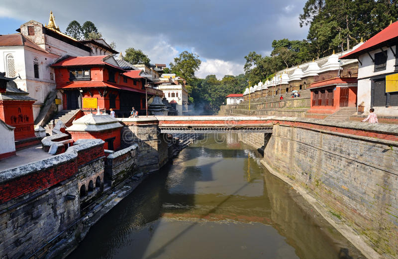Pashupatinath Hindu temples. Nepal. PASHUPATINATH - OCT 8: Cremation ghats and ceremony along the holy Bagmati River at Pashupatinath Temple, on Oct 8, 2013 in royalty free stock photography