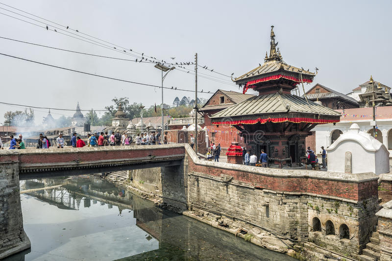 Pashupatinath, Kathmandu, Nepal. Pashupatinath serves as the seat of the national deity, Lord Pashupatinath. It is also the place of cremation ceremony along the royalty free stock images